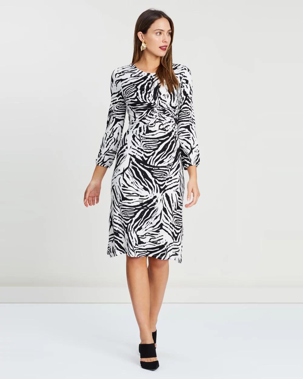 Zebra Manipulated Midi Dress By Dorothy Perkins Online The Iconic Australia Women Dress Online Dresses Online Australia Dresses