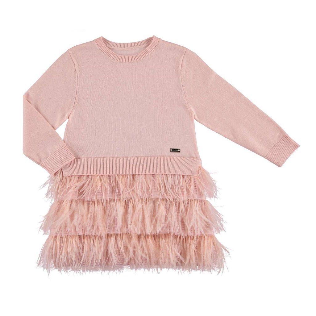 Mayoral Baby Girls Long Sleeve Mix Media Embroidered Knit Sweater Dress