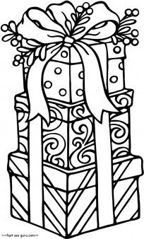 Free Printable christmas gifts coloring pages for kids