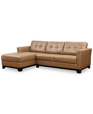 Martino Leather Chaise Sectional Sofa 2 Piece Apartment Sofa And