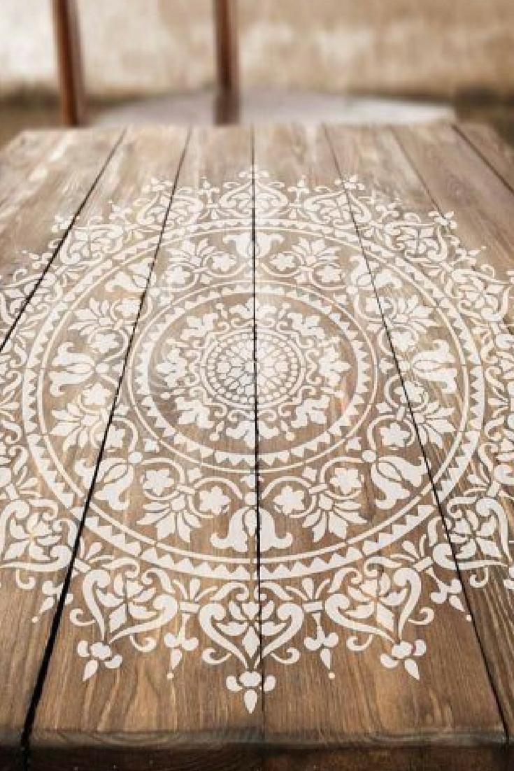 Mandala Stencil Prosperity - Mandala Stencil for Furniture ...