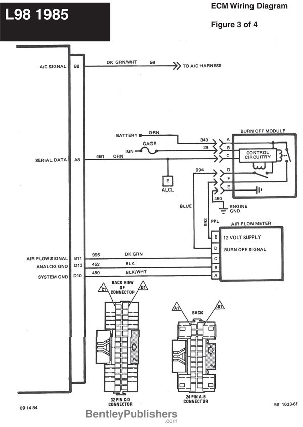 wiring diagram - l98 engine 1985-1991 (gfcv) - tech - bentley publishers  support
