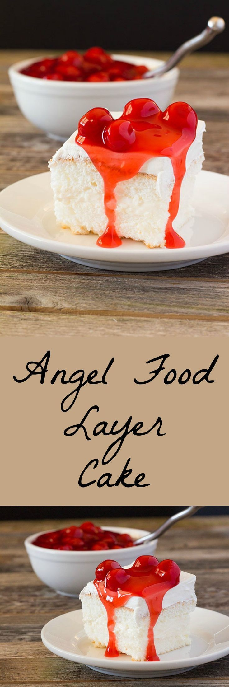 Layered angel food cake baked in a 9 x 13 pan and filled
