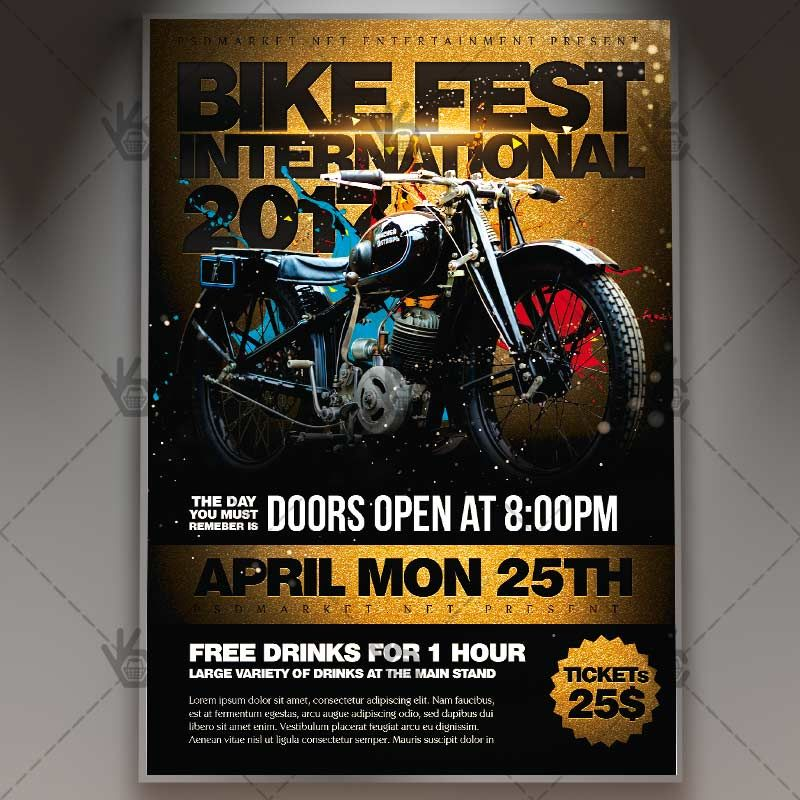 bike fest international premium flyer psd template biker bikers motocross