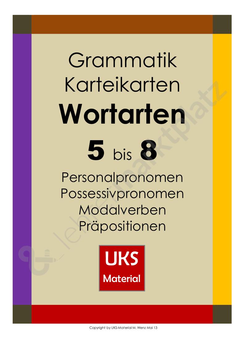 grammatik karteikarten zu den wortarten 5 bis 8 daz daf deutsch. Black Bedroom Furniture Sets. Home Design Ideas