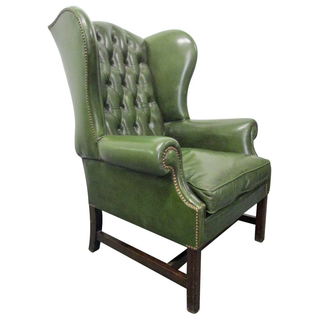 Vintage Green Leather Tufted Wingback Chair
