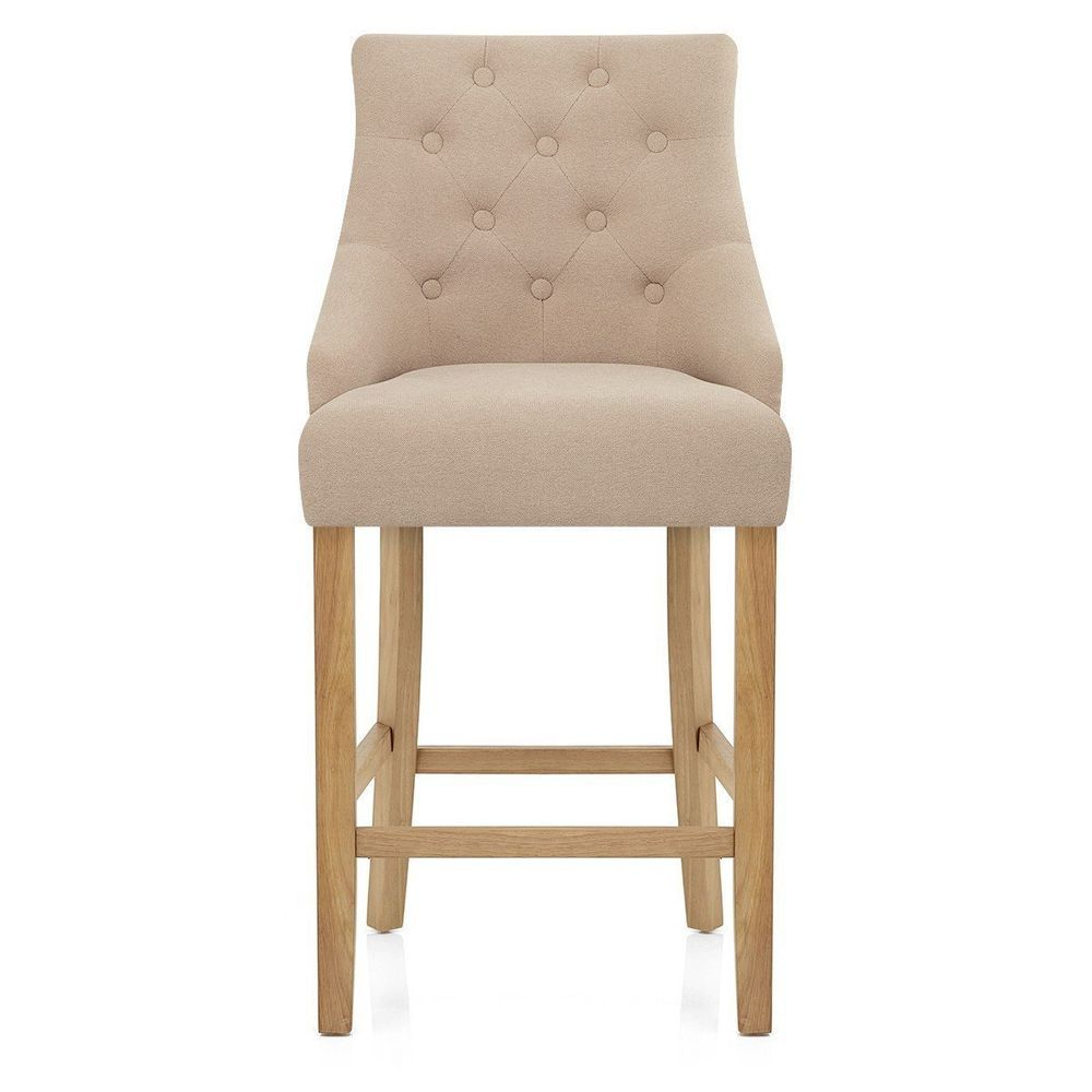 Beige Breakfast Bar Stool Classic Wood Fabric Upholstered Quilted