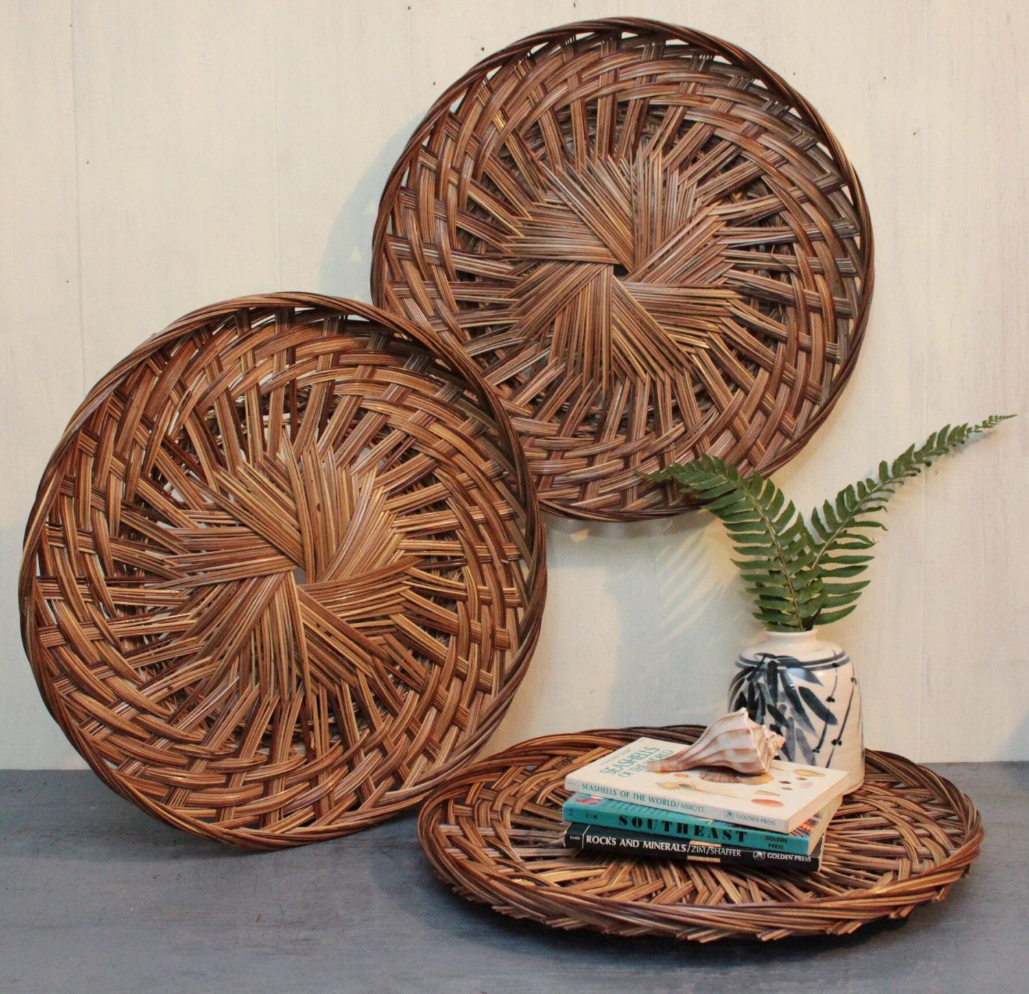 Wall Baskets Decor bamboo wall basket - large round rattan tray - shallow flat basket