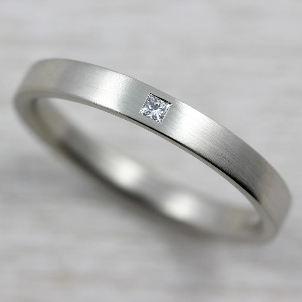 Narrow Flush Set Square Diamond Ring In 2020 Square Diamond Rings Engagement Rings For Men Black Diamond Ring Engagement