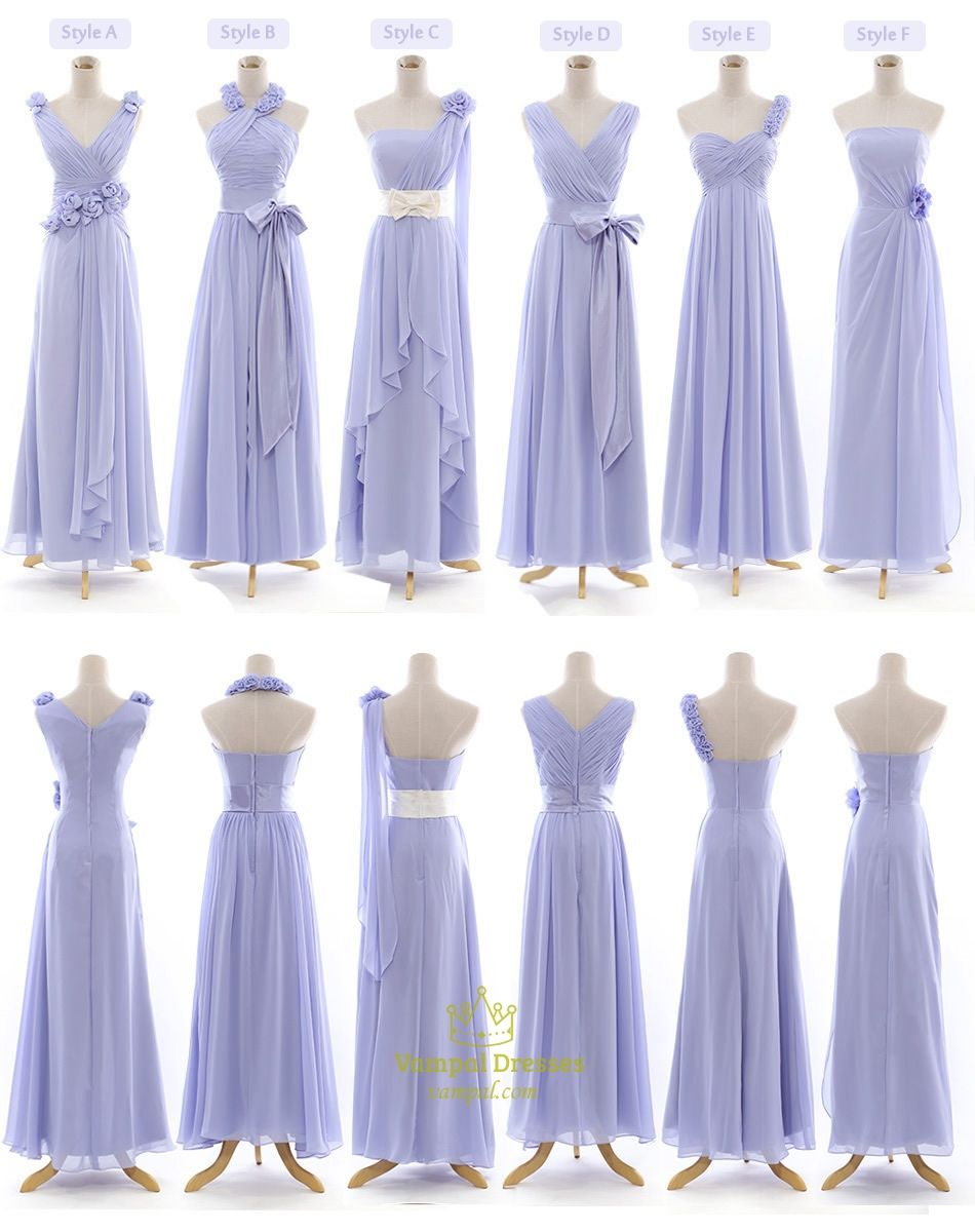 Lilac Bridesmaid Dresses Chiffon One Shoulder With Sleeves | A ...