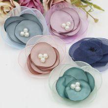 Nuevo Llegado Perlas decoración Núcleo Tela/Net Hilo Hecho A Mano Flores Forma Moda Flores Diy Prendas/Sombreros/Cabello accesorios(China (Mainland))