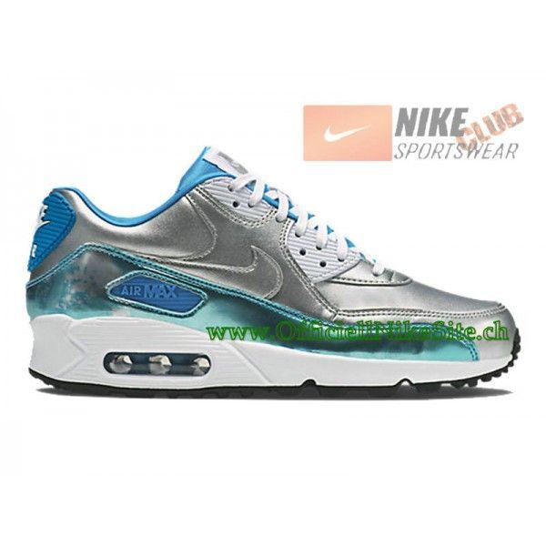 Nike Air Max 90 Premium GS Chaussures Nike Pas Cher Pour Femme Argent/Bleu 744596