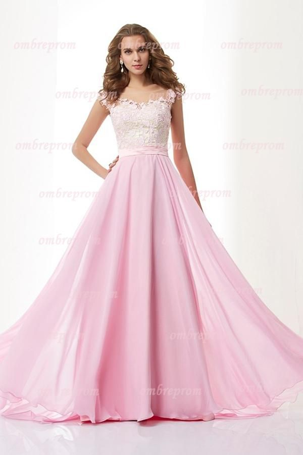 Pink A Line Floor Length Capped Sleeve Chiffon Appliques Prom Dress ...