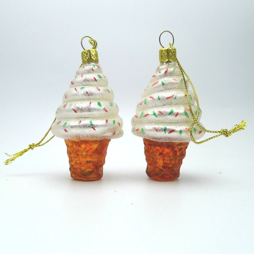 Christmas Tree Ornaments Ice Cream Cones Swirled Glitter Set 2 in ...