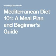 Mediterranean Diet 101 A Meal Plan And Beginner S Guide