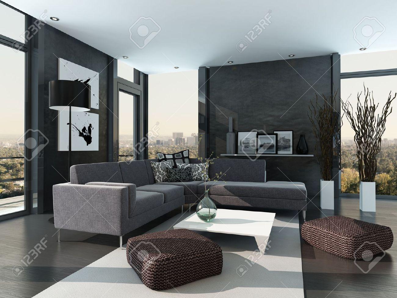 Grijs gekleurde modern design woonkamer interieur royalty vrije foto plaatjes beelden en stock - Grijs gekleurde ...