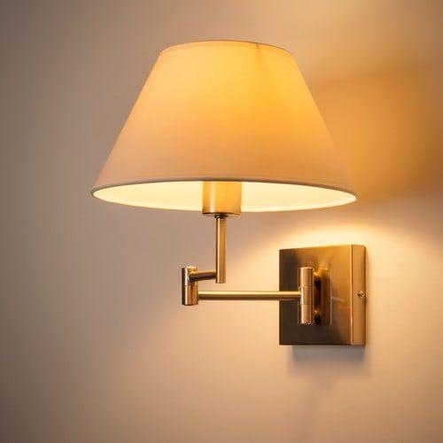 Lámpara De Pared De Metal Y Algodón Al. 30 Cm