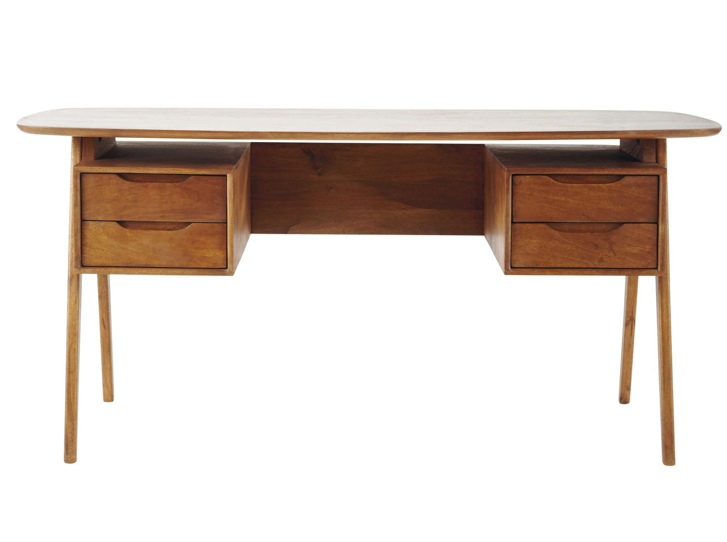 Houten Bureau Mangohouten Bureau In Vintage Stijl Work Study Desk Furniture