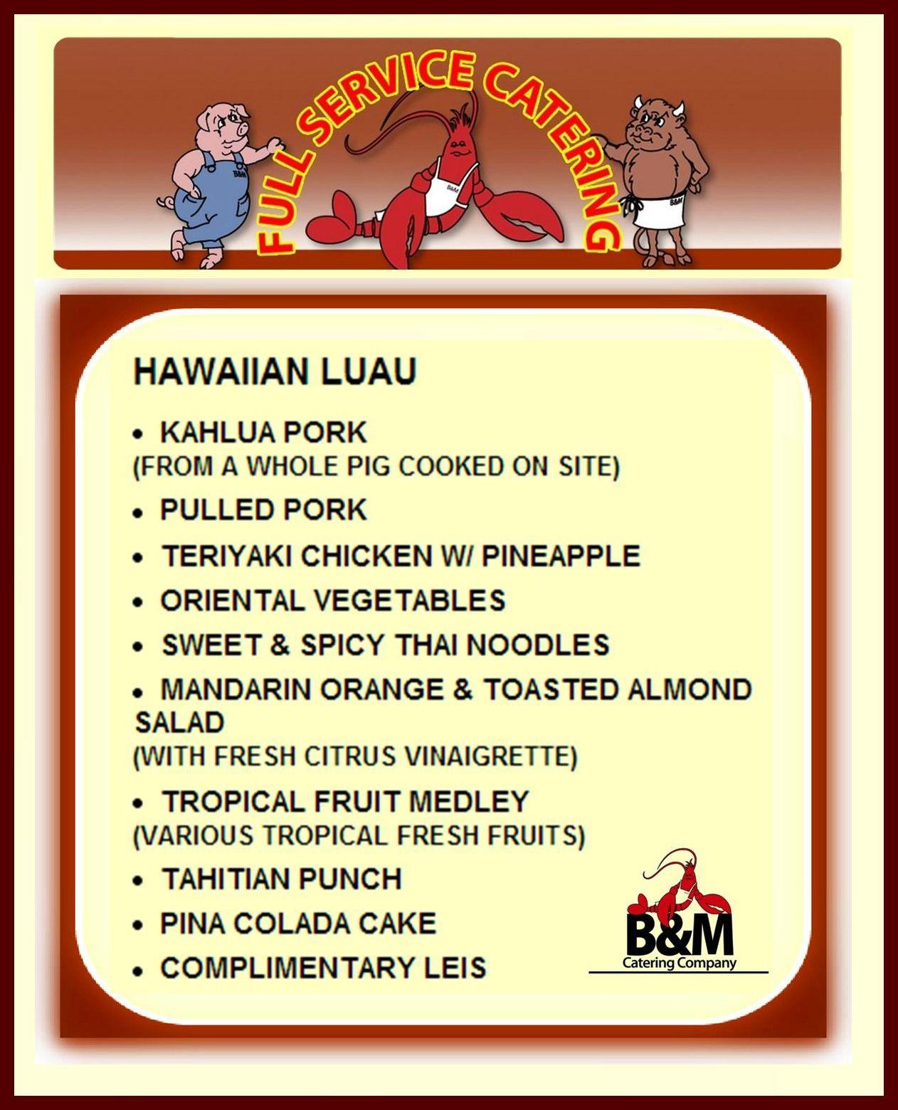 Hawaiian Luau Menu