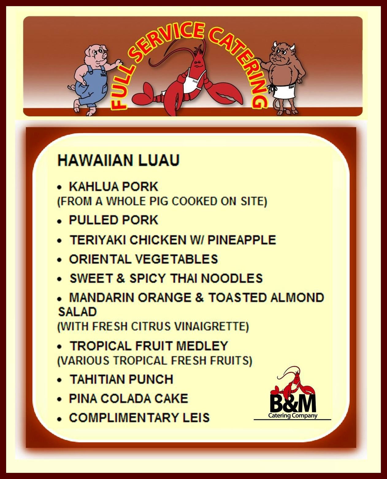 Pig Roast Hawaiian Luau Menu