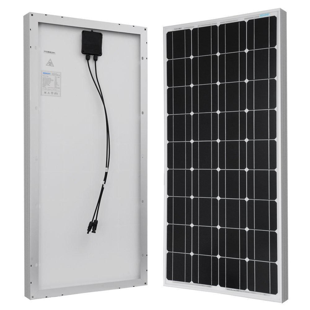 Renogy 100 Watt 12 Volt Monocrystalline Solar Panel For Rv Boat Back Up System Off Grid Application Rng 100d The Home Depot In 2020 Monocrystalline Solar Panels Solar Panel Kits Solar Panels