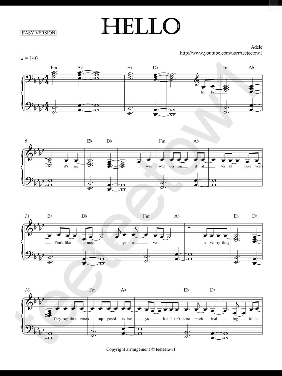Piano Sheet Music u2014 Hello - Adele (Piano Sheet) : For future reference... : Pinterest : Adele ...