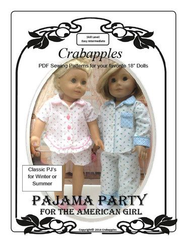 Pajama Party 18 inch Doll Clothes PDF Pattern Download | Pixie Faire