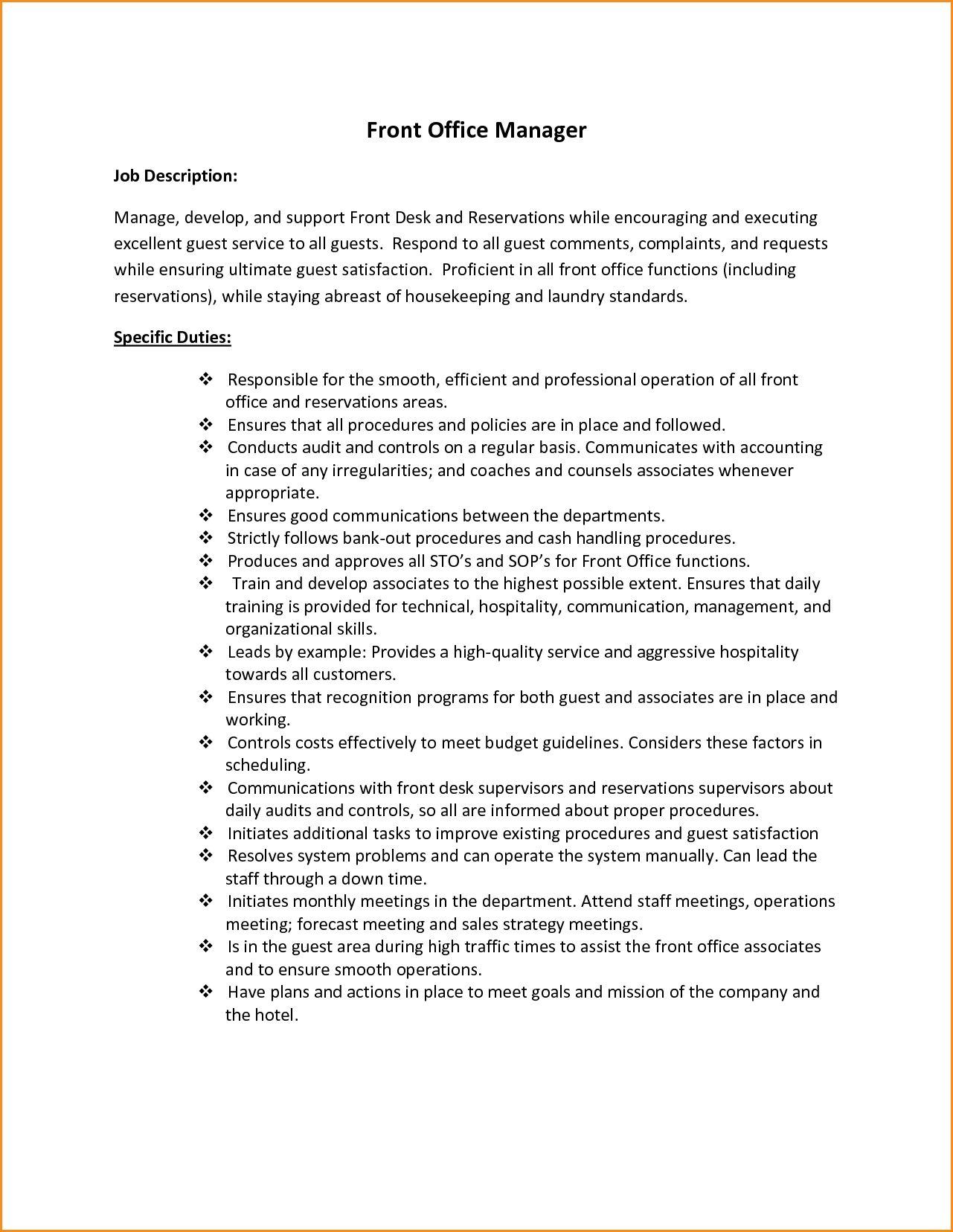 Front Office Desk Job Description  HttpIManageCom