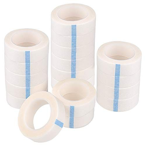 TUPARKA 18 Pack Eyelash Tape White Paper Fabric Tape for Eyelash Extension Supply, 0.5 Inch x 10 Yard Each Roll #fabrictape
