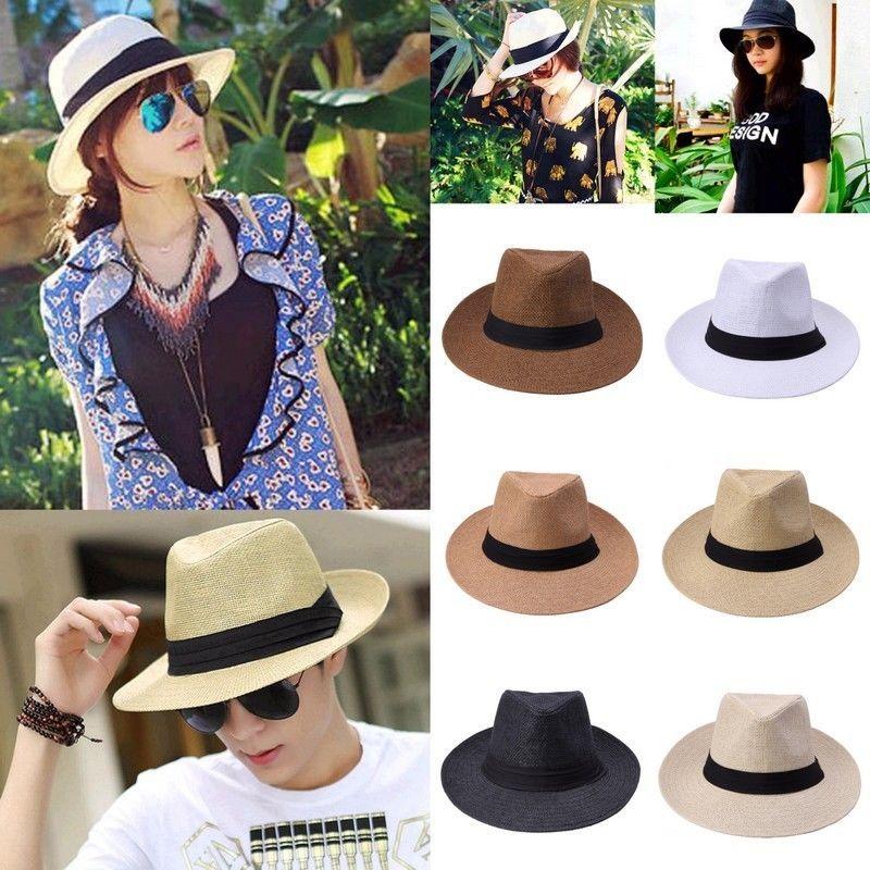7ae5e8d19 Fashion Summer Beach Sun Straw Hat Women Mens Fedora Wide Brim ...
