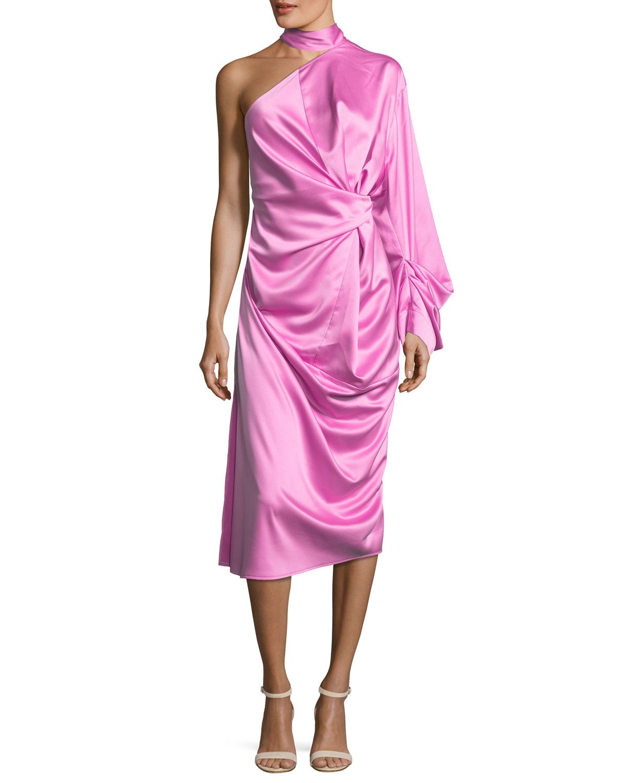 Solace London Yoshio One-Shoulder Side-Twist Satin Midi Dress ...