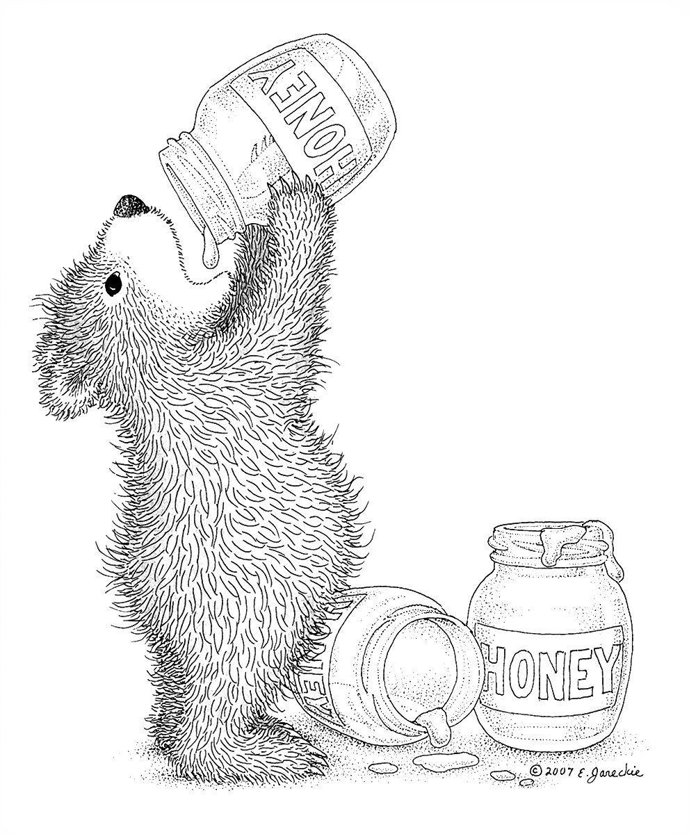 копирка расположен нарисовать картинку мишка с медом карандашом цветов одном