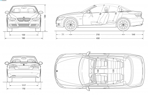 2007 bmw 3 series e93 convertible cabriolet blueprint point bmw convertible blueprints vector drawings clipart and pdf templates malvernweather Image collections