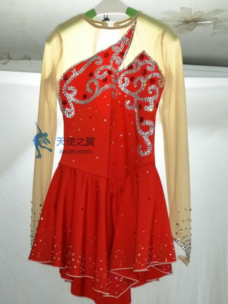 Red Ice Figure Skating Dresses Custom Girl Competition Skating Dress Girls Y079