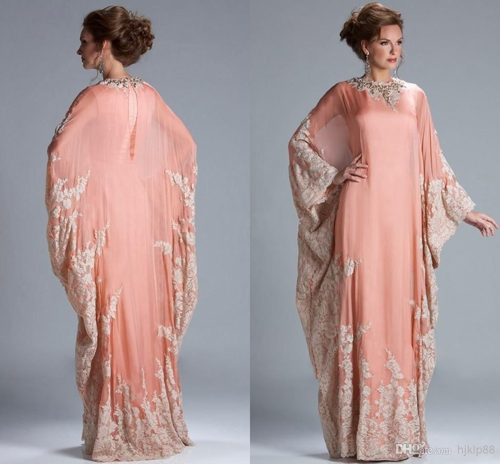 Cheap 2014 - Discount Peach Coral Long Sleeves Evening Dress Kaftan ...