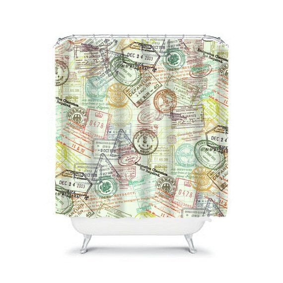 Vintage Shower Curtain Retro Bathroom Decor Map Shower For Men