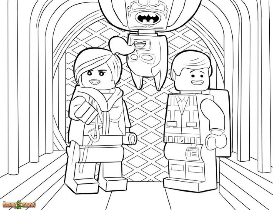 batman wyldestyle and emmet from lego movie coloring pages