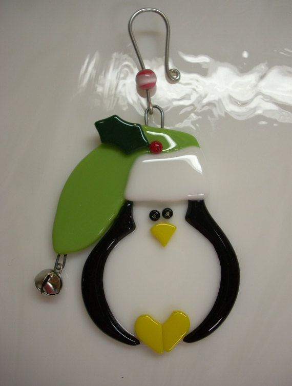 fused glass penguin ornament penguin christmas ornament reserved for justin 1500 via etsy she also has snowmen and santas