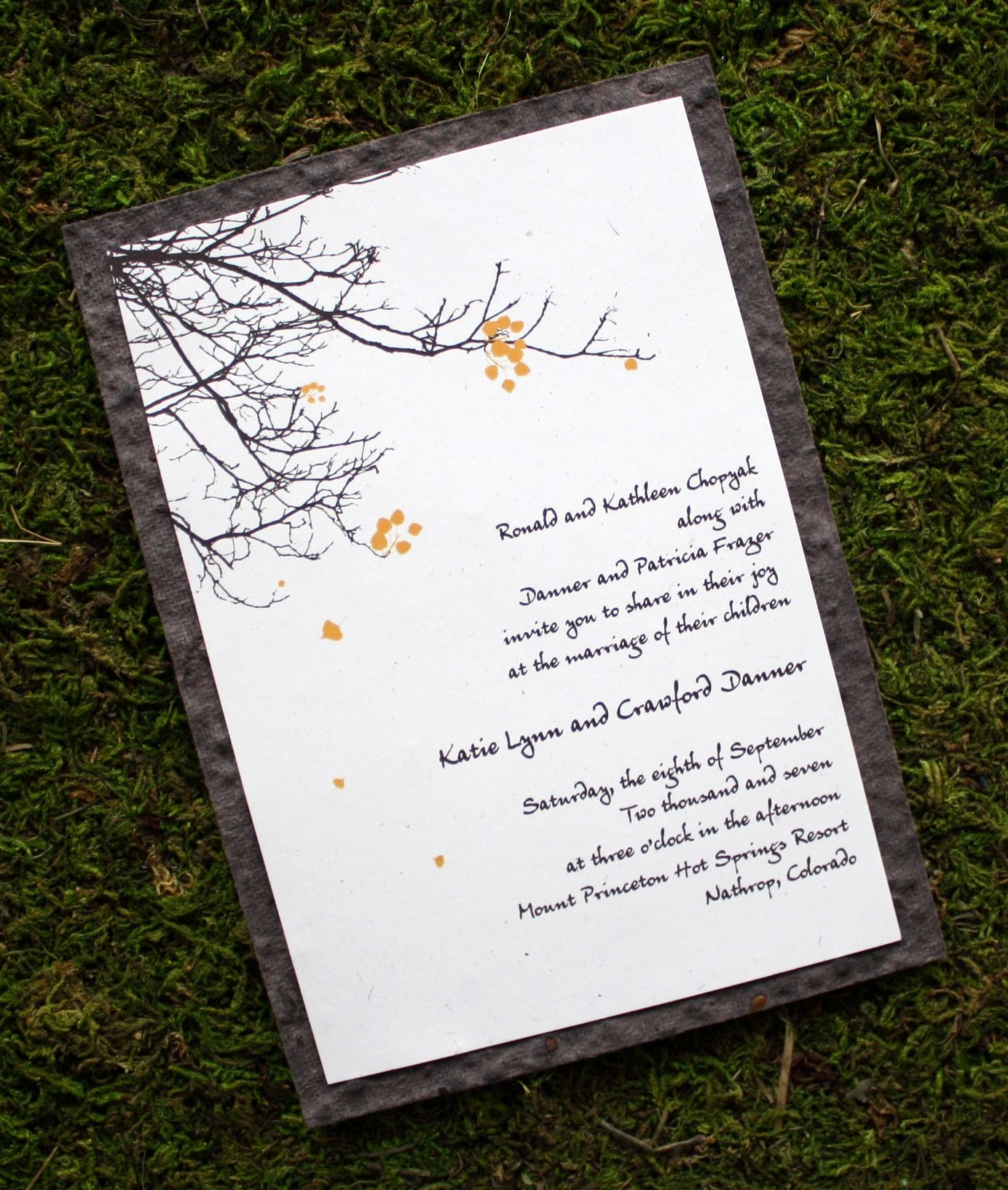 A very popular design for any occasion letter pressed on seed