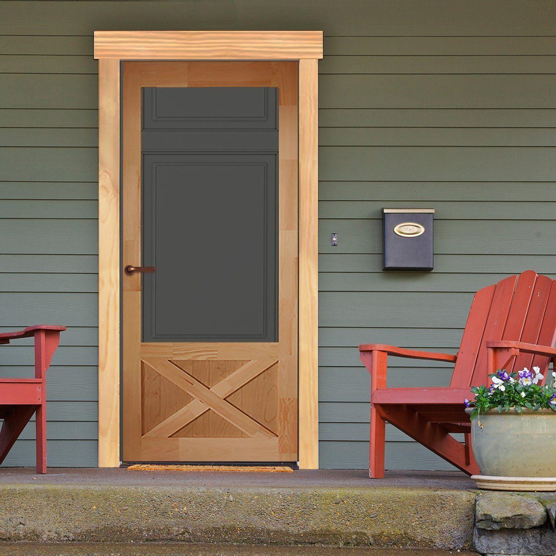 Screen Storm Door Wood Thompson In 2020 Wood Doors Storm Door Doors