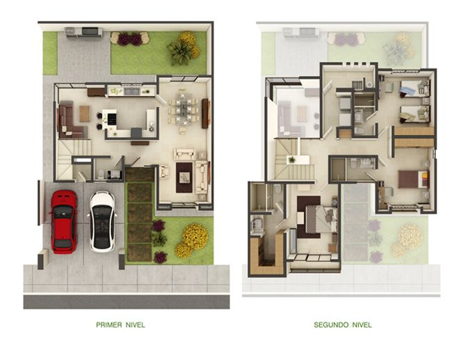 Plantas arquitectonicas distribucion family room casas for Casa minimalista 2 plantas