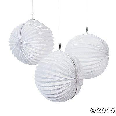 Small White Party Lanterns Oriental Trading 15 99 Per Dozen Hanging Paper Lanterns White Paper Lanterns White Lanterns
