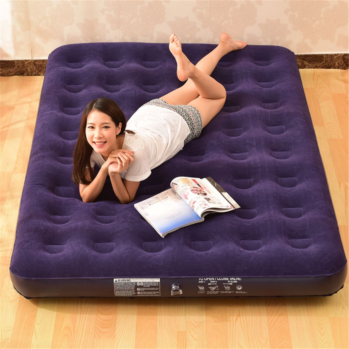 Ez Inflate Suede Airbed Mattress With Builtin Battery Powered Dry Cell Pump Queen Easy For Travel And Storage More I Air Bed Dry Cell Air Mattress Camping