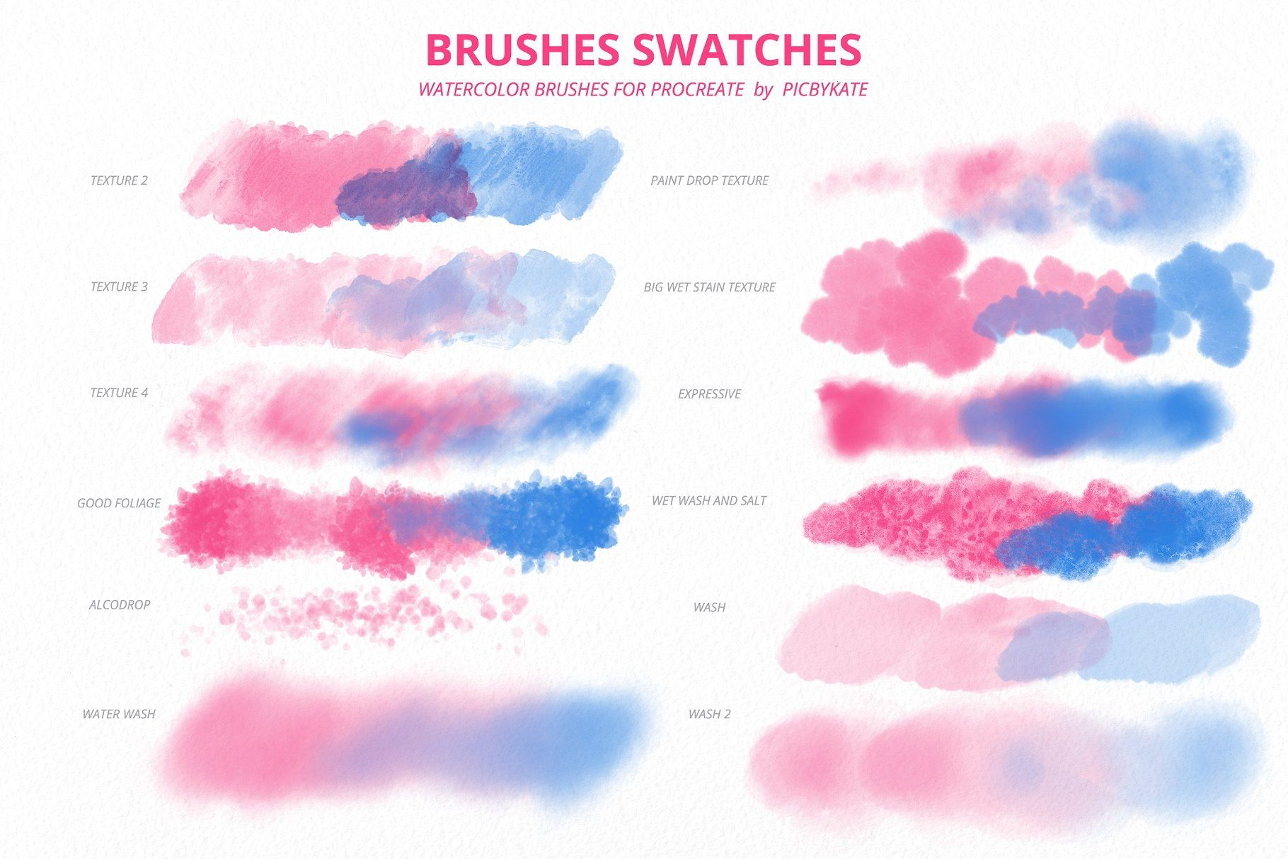 50 Procreate Watercolor Brushes Watercolor Brushes Procreate