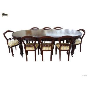 Victorian Antique Reproduction Dining Setting 8 Seater With Dutch Adam Chairs The