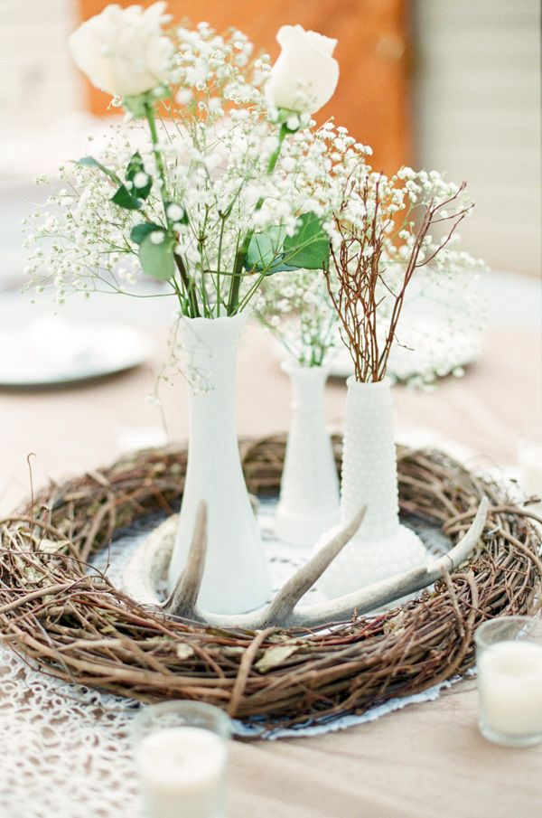 Antlers wedding decor centerpiece weddings white - Decoracion facil y barata ...