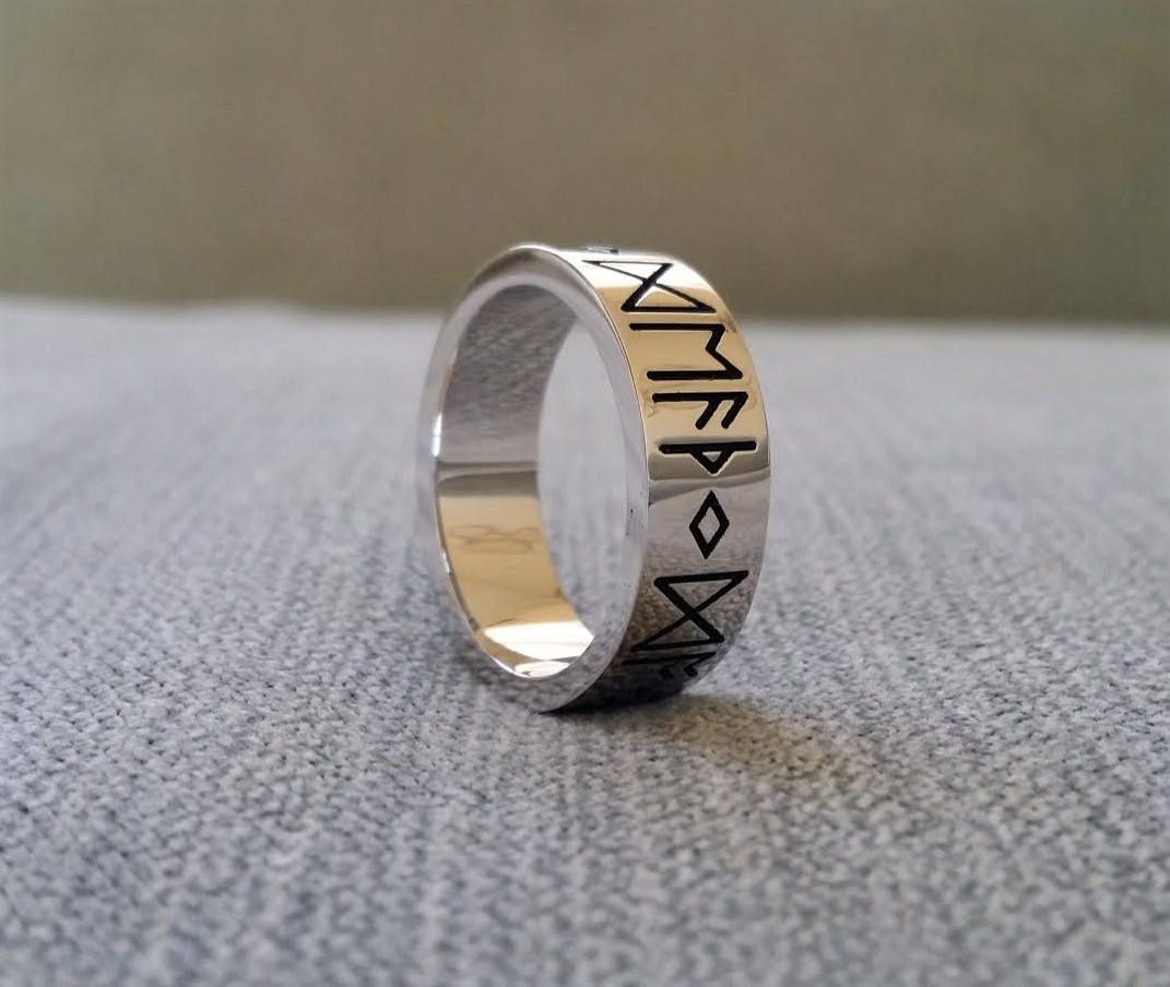 Etsy Rustic Mens Wedding Band Ring Nordic Runes Till Death Do We