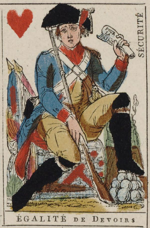 French Revolution Playing Card Issued 1793 Jack Of Hearts Becomes