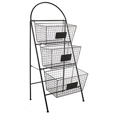 3 Tier Modern Black Metal Wire Mesh Basket Floor Rack Shelf Organizer Stand W C Shelf Organization Rack Shelf Modern Baskets