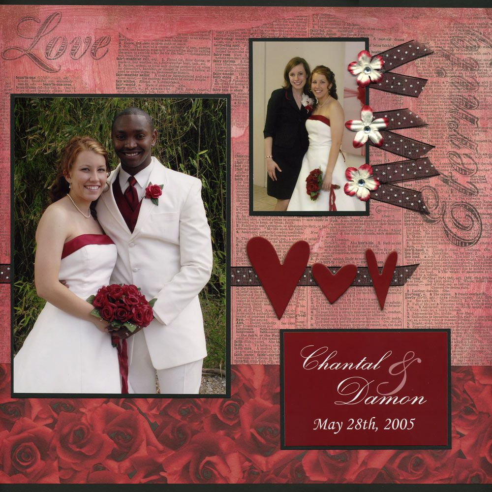 Like how she used the ribbon and flowers on this layout.  Wedding - Scrapbook.com
